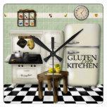 Reloj libre del verde de la cocina del gluten