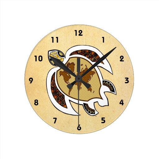 Reloj lindo de la tortuga del mundo