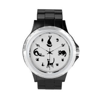 Reloj lindo de los gatos