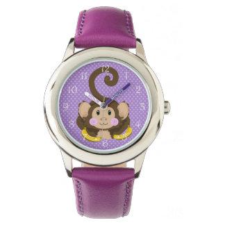 Reloj lindo de los niños del mono