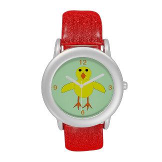 Reloj lindo de los niños del polluelo de Pascua