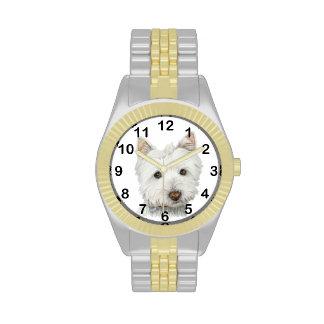 Reloj lindo del arte del perro de Westie
