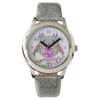 Reloj lindo del búho del flower power