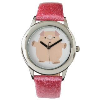 Reloj lindo del cerdo del dibujo animado de la
