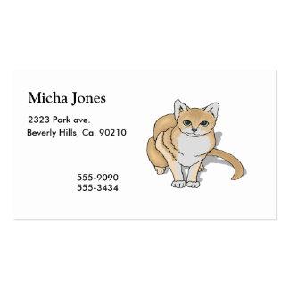 Reloj lindo del gato tarjetas de visita