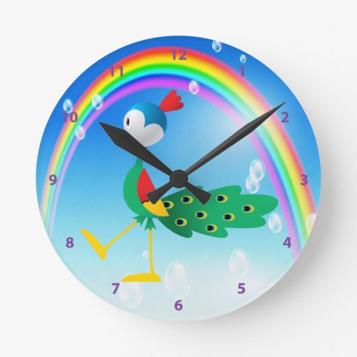 Reloj lindo del pavo real y del arco iris