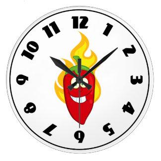 Reloj llameante de la pimienta de chile