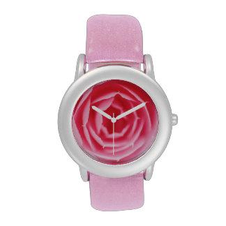 Reloj macro de la flor color de rosa rosada abstra