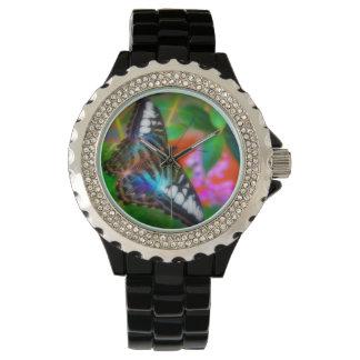 Reloj macro de la foto de la mariposa azul