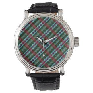 Reloj marrón, verde y azul de la tela escocesa de