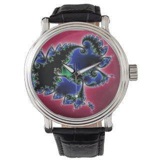 Reloj marrón y azul del fractal