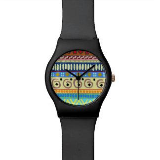 Reloj mate del negro tribal del diseño de Berimbau