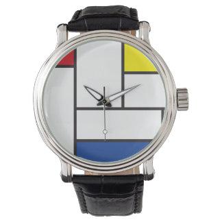 Reloj minimalista del arte moderno de Mondrian de