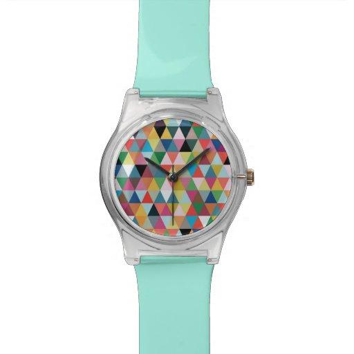 Reloj modelado triángulo geométrico colorido