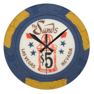 Reloj moderno de Acryllic de la ficha de póker de