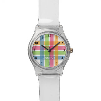 Reloj moderno de los chicas con las rayas en color