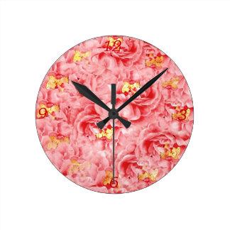 Reloj moderno rosado de Acryllic de los pétalos co