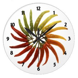 Reloj multicolor de los pimientos picantes