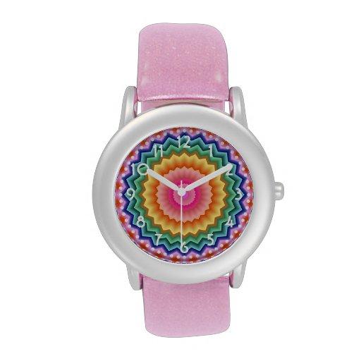 Reloj multicolor del caleidoscopio del zigzag