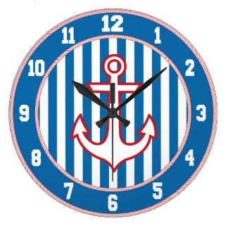 Reloj náutico blanco y azul rojo del ancla