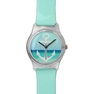 Reloj náutico del océano de la turquesa del ancla