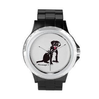 Reloj negro de Connie del laboratorio