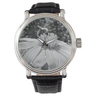 Reloj negro de encargo del cuero del vintage de la