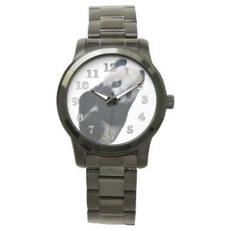 Reloj negro de gran tamaño unisex de la pulsera de