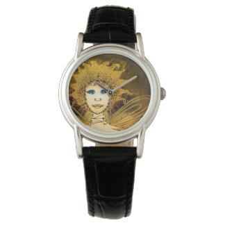 Reloj negro de la correa de cuero de las mujeres