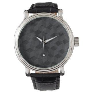 Reloj negro de la correa de cuero del vintage del