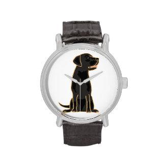 Reloj negro del arte del labrador retriever
