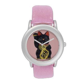 Reloj negro del gato de Maneki Neko