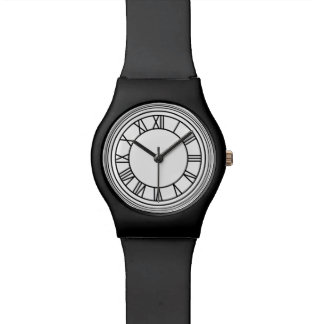 Reloj negro del número romano