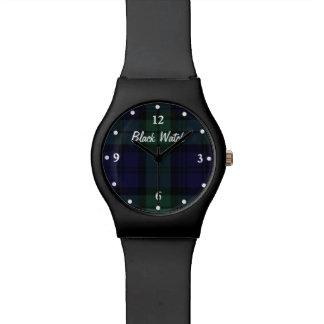 Reloj negro del personalizado de la tela escocesa