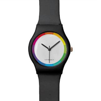 reloj negro mate de la rueda de color