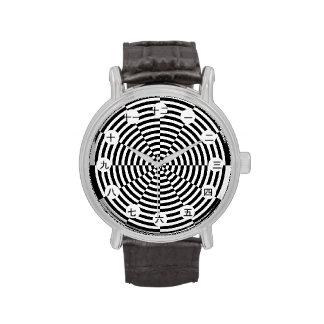 Reloj negro y blanco de la radiación (cara de