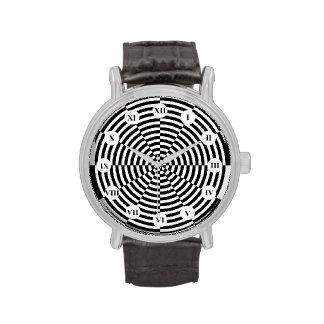 Reloj negro y blanco de la radiación (cara romana)