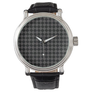 Reloj negro y gris del vintage del tablero de