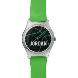Reloj negro y verde de encargo del baloncesto