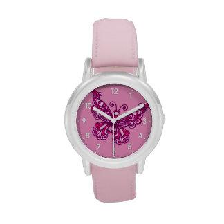 Reloj numerado mariposa de los chicas