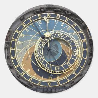 Reloj o Praga astronómico Orloj Etiquetas Redondas