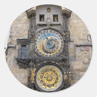 Reloj o Praga astronómico Orloj Pegatinas Redondas