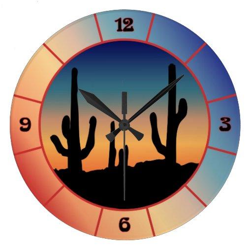 Reloj occidental de la silueta de la puesta del so