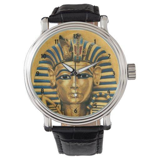 Reloj para hombre de la correa de cuero de rey Tut