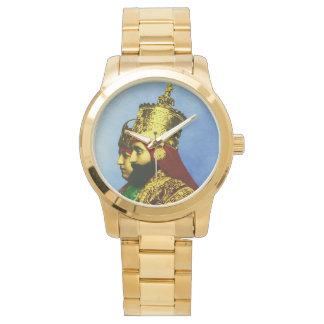 Reloj para hombre del oro de Etiopía del reggae de