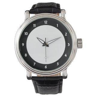 Reloj para hombre WH-BLK de la correa de cuero del