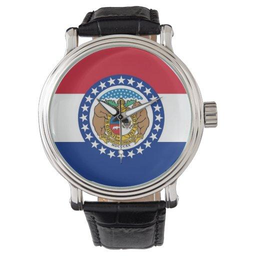 Reloj patriótico con la bandera de Missouri