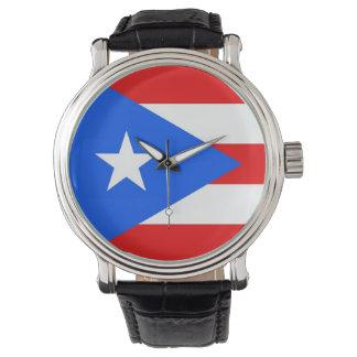 Reloj patriótico con la bandera de Puerto Rico