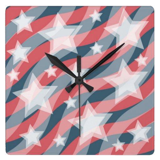 Reloj patriótico de las barras y estrellas