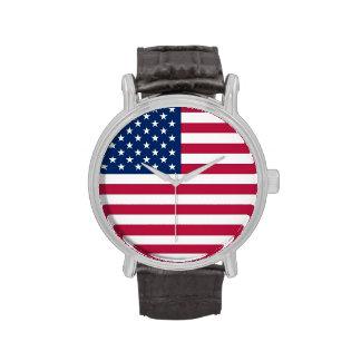 Reloj patriótico, especial con la bandera de los E